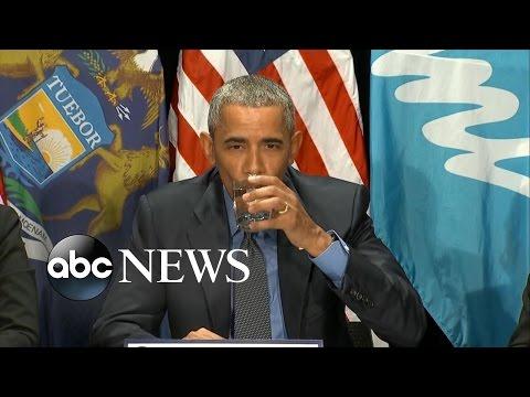 President Obama Drinks Glass of Filtered Flint Water