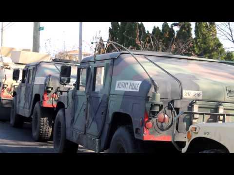 Military Convoy in Rockaway Beach, Queens, NY- Post Hurricane Sandy
