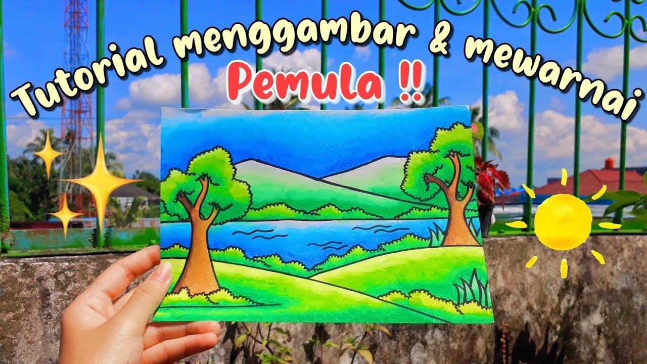Tutorial menggambar dan mewarnai crayon pemula |indonesia