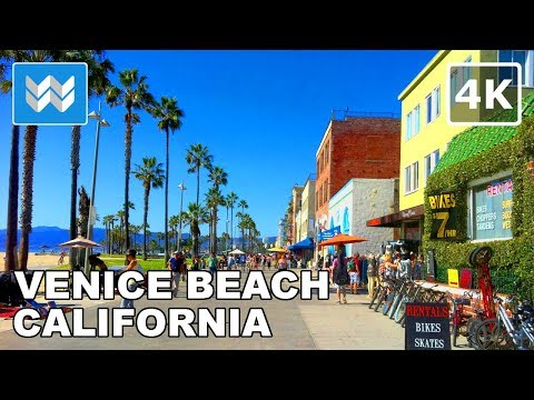 Walking from Venice Beach to Santa Monica Pier in Los Angeles, California - 4K