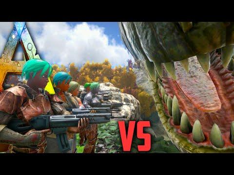 Ark Survival Evolved - Giganotosaurus vs Halo Tribe - NPC Tribe Wars Gameplay