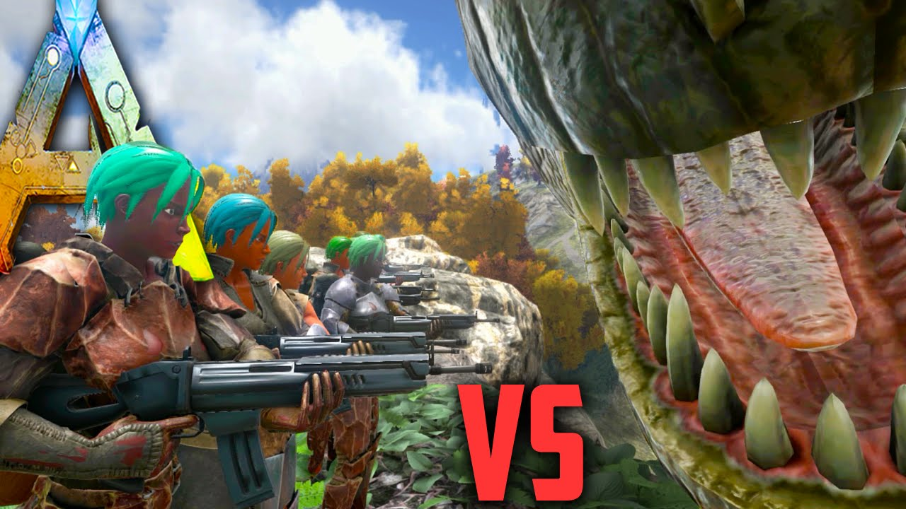 Ark Survival Evolved - Giganotosaurus vs Halo Tribe - NPC Tribe Wars  Gameplay