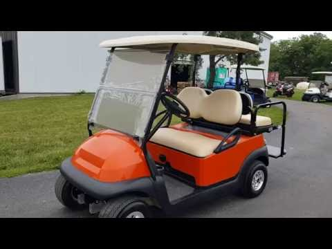 Orange Custom Club Car Precedent Golf Cart With SS Wheels & Rear Flip Seat