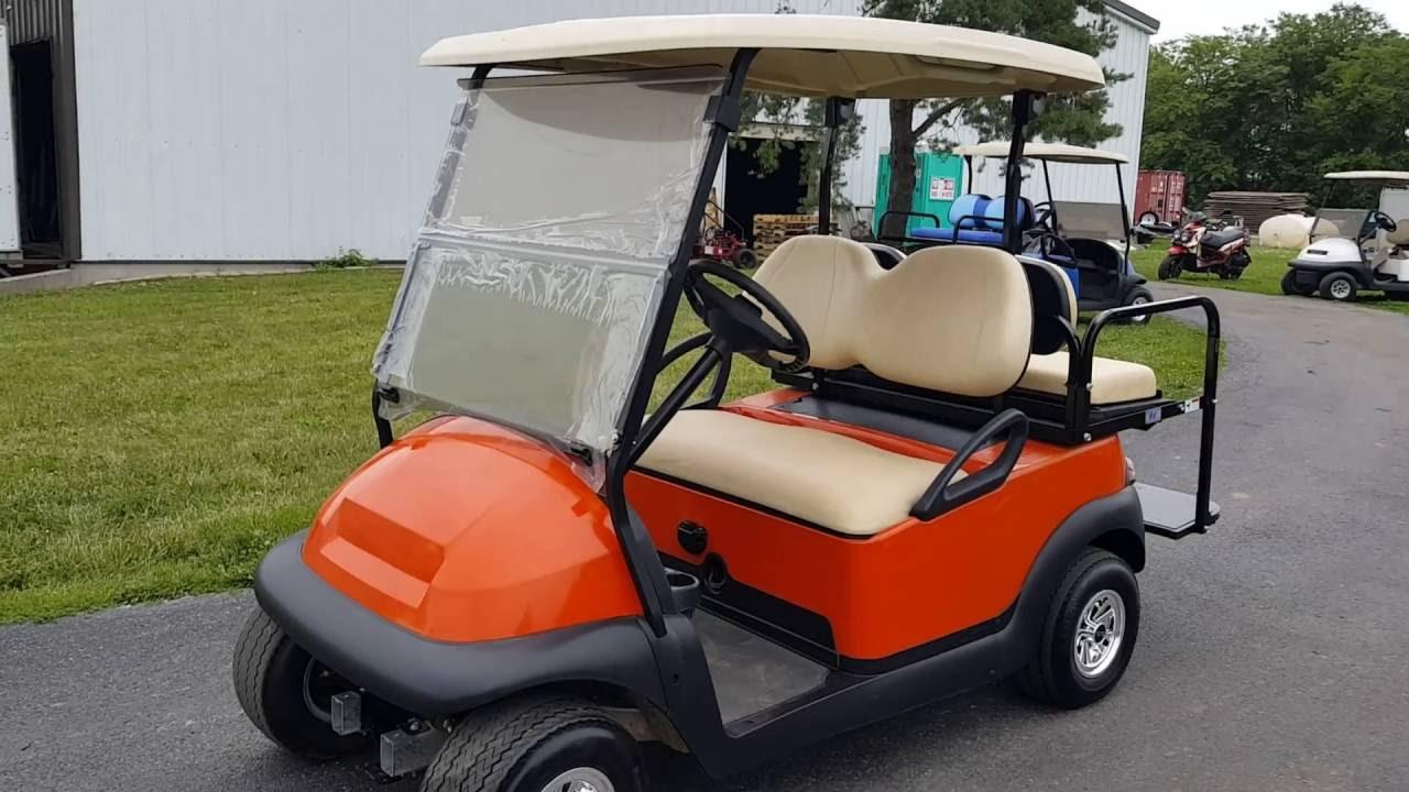 Orange Custom Club Car Precedent Golf Cart With SS Wheels & Rear ...