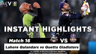 Lahore Qalandars vs Quetta Gladiators | Full Match Instant Highlights | Match 16 | 3 Mar | HBL PSL 5