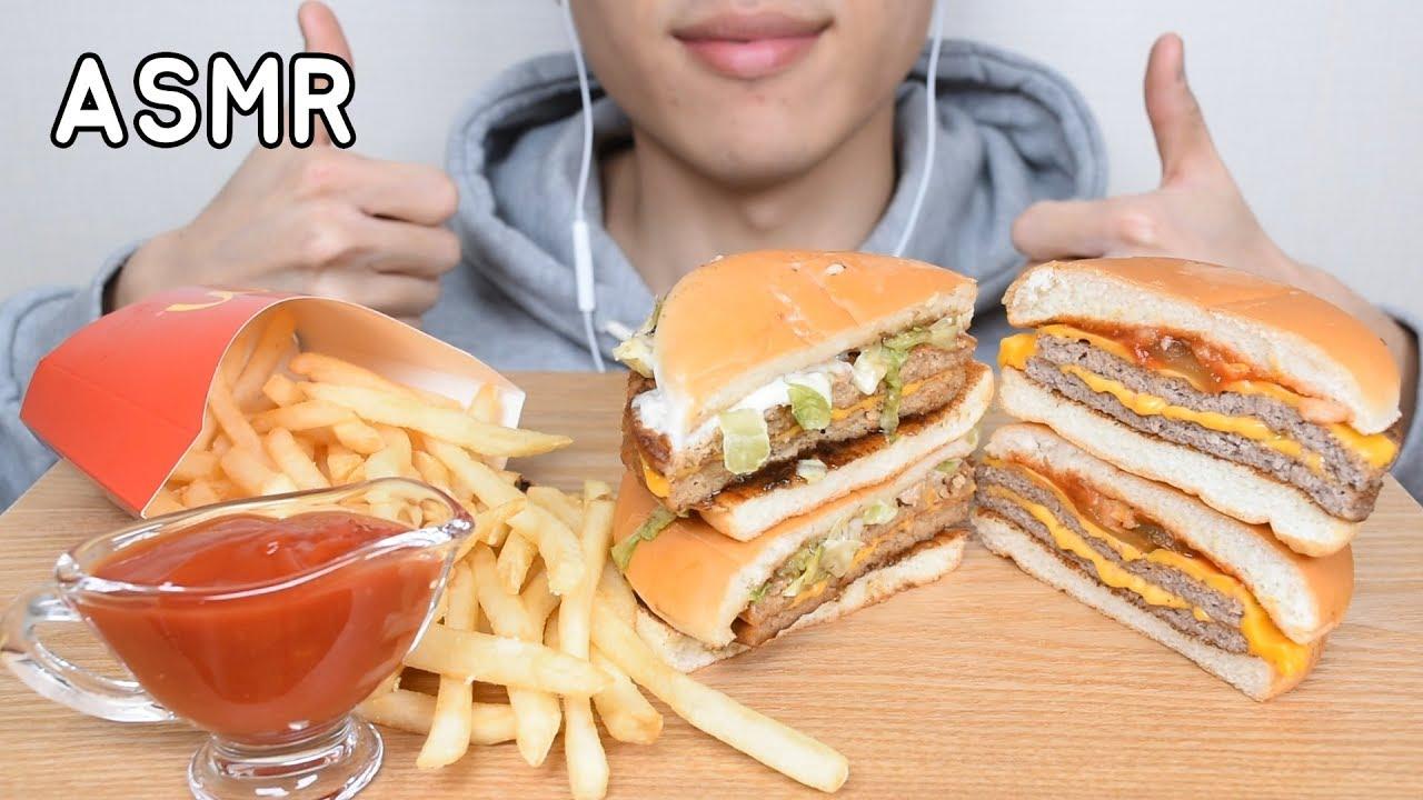 asmr mcdonalds cheese burger 맥도날드 더블치즈버거 더블불고기버거 먹방eating