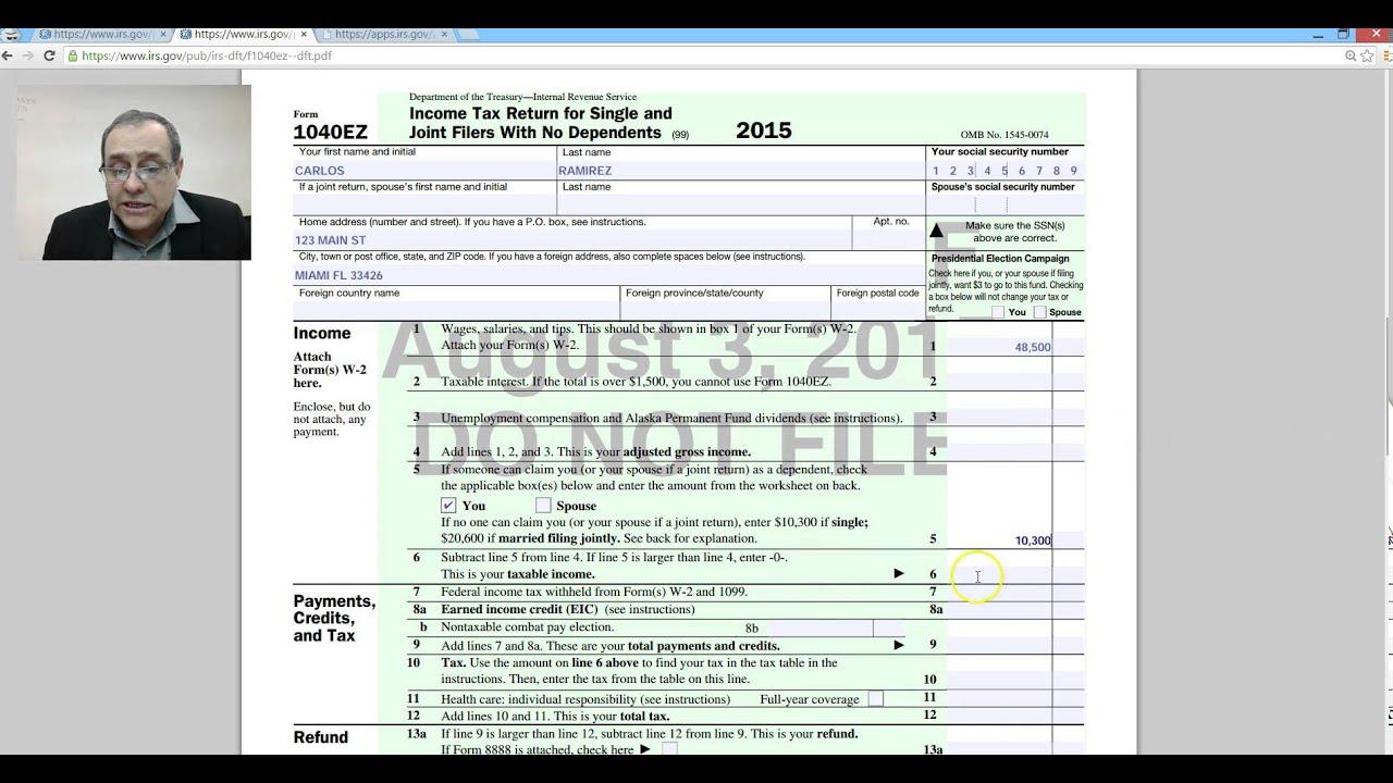 Income Tax 1040ez Youtube