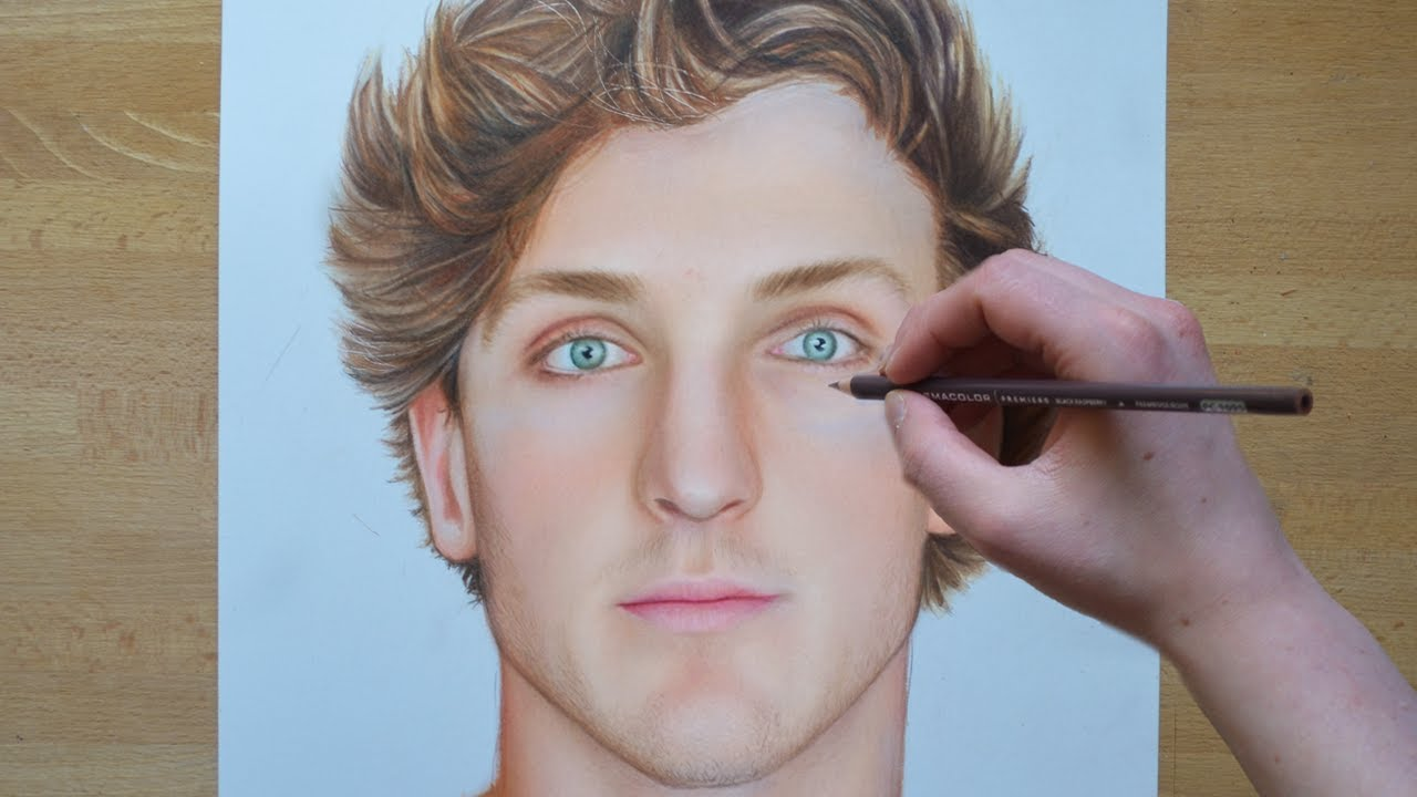 how to draw logan paul step by step
