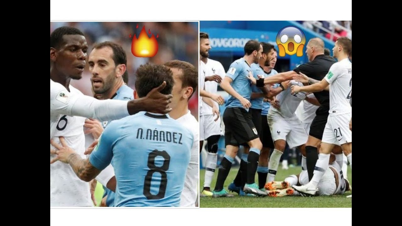 world cup 2018 fight between france and uruguay   pogba on