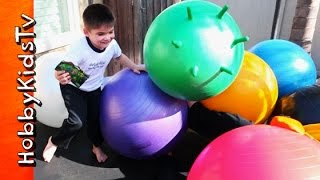 Worlds Biggest BALL PIT Surprise Toys! Trampoline + Superhero Mystery Box Pac-Man HobbyKidsTV