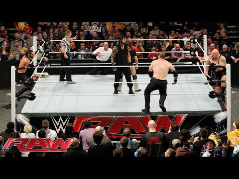 Daniel Bryan & Roman Reigns vs. Seth Rollins, Big Show, Kane & J&J Security: Raw, February 9, 2015