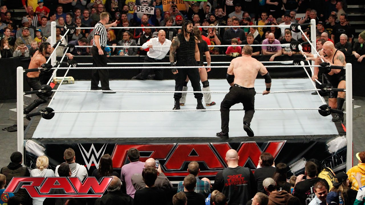 Daniel Bryan & Roman Reigns vs. Seth Rollins, Big Show, Kane & J&J Security: Raw, Februa