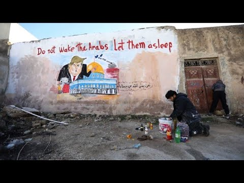 Syrian artist paints mural protesting Trump Jerusalem moves