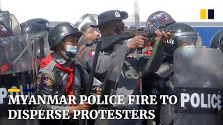 Myanmar police fire to disperse protesters, at least 4 hurt