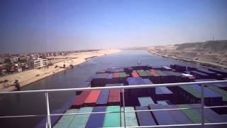 فيديو حصرى لقناة السويس الجديدة من أعلى حاملة حاويات فى العالم