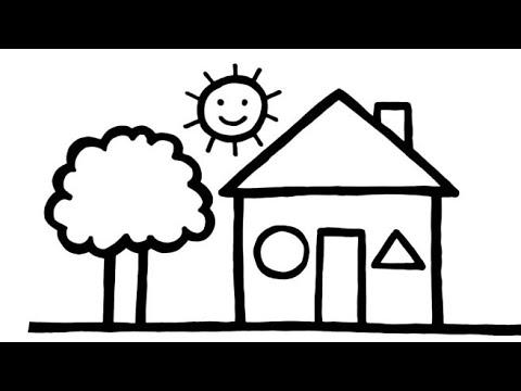 رسم منزل سهل وكيوت رسم سهل جدا تعليم الرسم للأطفال رسومات