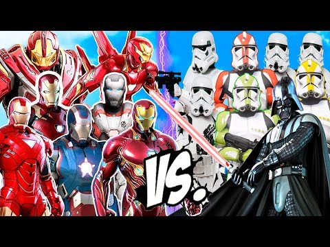 DARTH VADER & STORMTROOPERS ARMY Vs IRON MAN ARMY SUITS - GTA V STAR WARS INVANSIONS