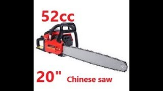 Chinese Chainsaw, 52cc 20 inch chainsaw
