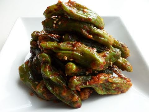 Steamed shishito peppers: Kkwarigochujjim(꽈리고추찜)