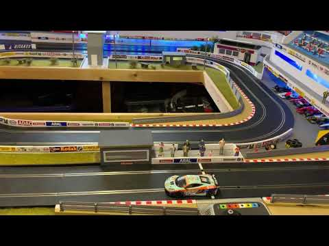 Scalextric slot car layout update and a wasp attack
