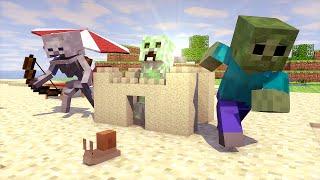 Minecraft Escola Monstro #36 - Um Dia Na Praia !!  Monster School