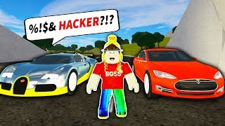 *GLITCHED* TESLA vs FASTEST SUPER CAR in VEHICLE SIMULATOR! (Roblox)
