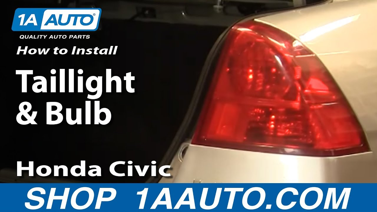 hight resolution of how to install replace taillight and bulb honda civic 01 05 1aauto com youtube
