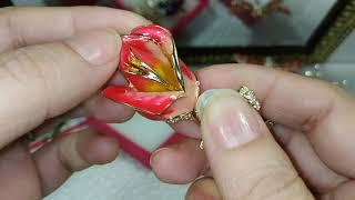 Обзор 29. Броши (фианиты, эмаль) от YANYI , FUNMOR , Dorado. Кольцо XuPing, Серьги розовые орхидеи