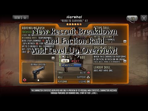 The Walking Dead Road To Survival - New Recruit Breakdown And Faction Raid And Level Up Overview!