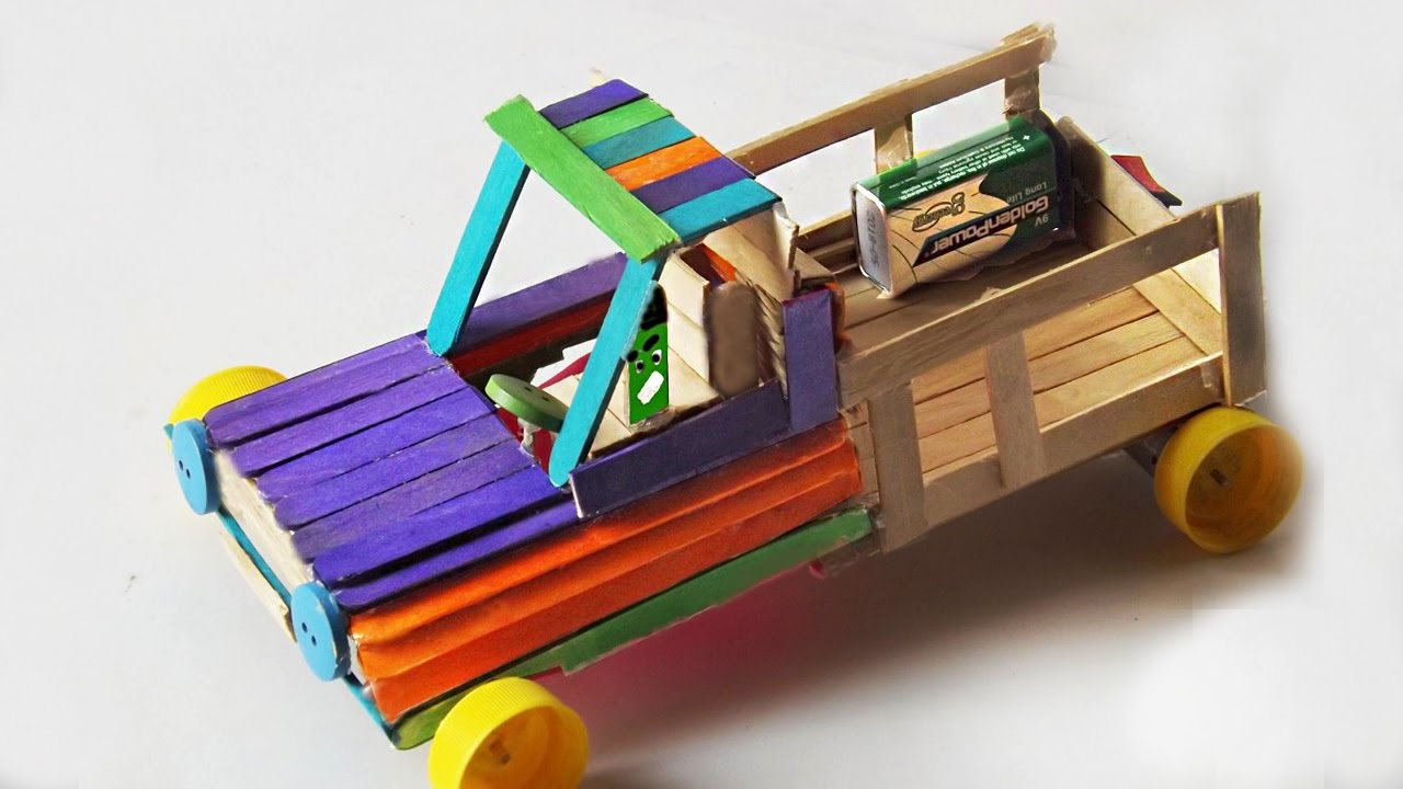 377728045 Popsicle Stick Crafts- How To Make a Car Toy - Powered Car - YouTube