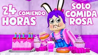 ⏰ 24 HORAS COMIENDO ROSA - ROLEPLAY- ROBLOX