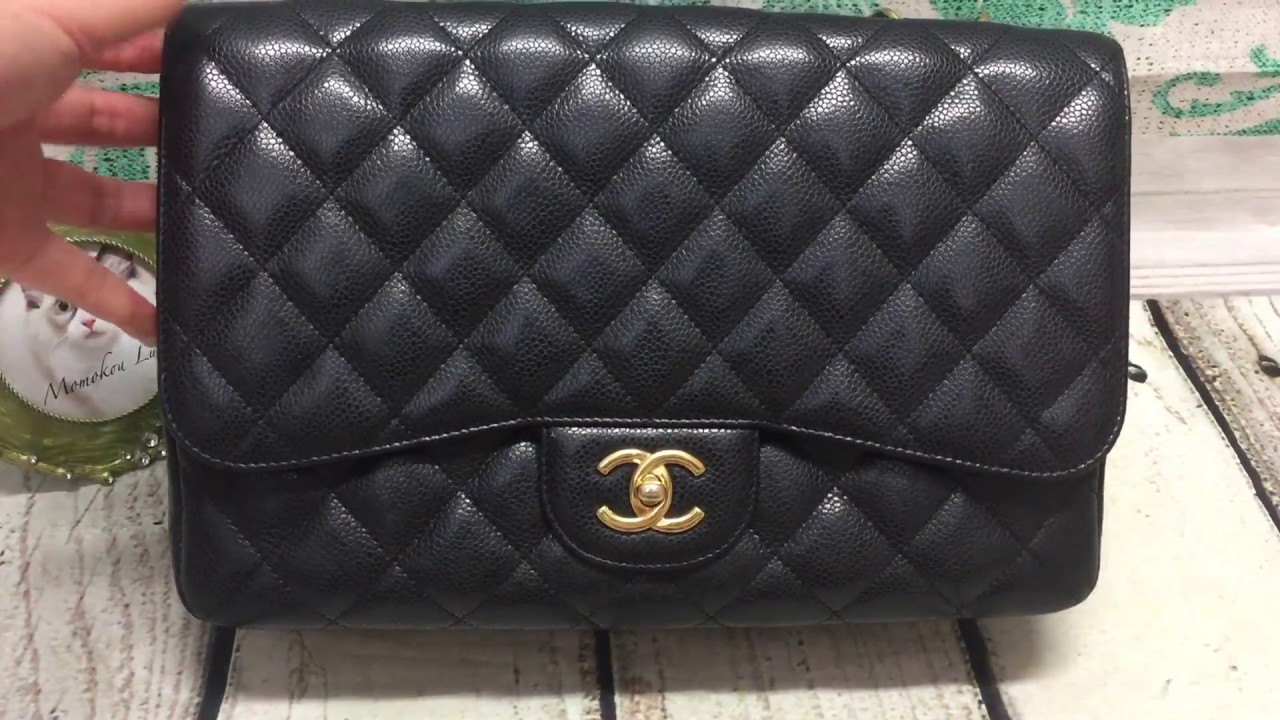 37a8cc61f1f4 Chanel black caviar single flap jumbo [SOLD] - YouTube