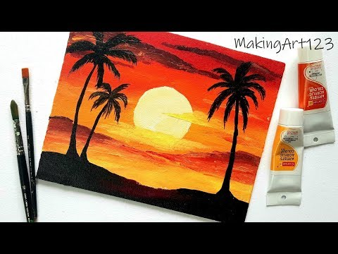 Easy Sunset Acrylic Painting For Beginners Sunset Landscape Painting Painting With Oil Paints
