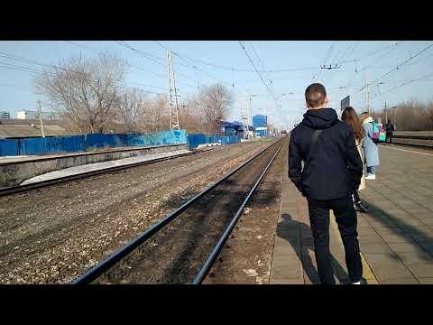 Прибытие скорого электропоезда в Липяги