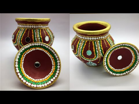 | How to decorate karva/ pot at home | Pot decoration | karva chauth decoration |