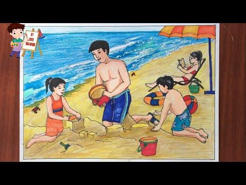 Vẽ tranh gia đình đi tắm biển mùa hè / How to draw summer beach