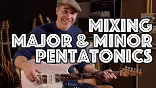 Mixing Major & Minor Pentatonics In Blues - How, Why and What To Practice! Guitar Lesson Tutorial