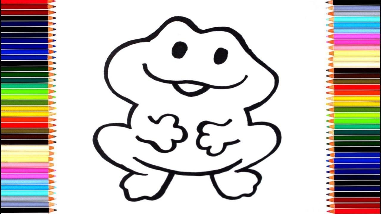 Как нарисовать лягушку/ мультик раскраска лягушонок для ...