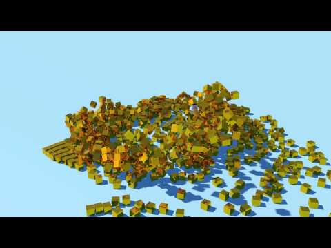 Cinema 4D - Gold Cubes and an attractor 3