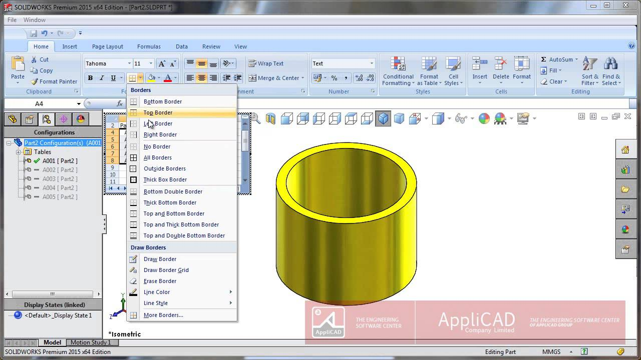 Design Table Solidworks we dont need two configurations named 10 so lets rename column a and b to 16 we will then go into column d and change the value to 16 Applicad Indonesia Solidworks Tipstrick Design Table Drawing Youtube