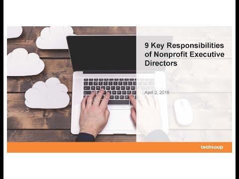 Webinar: 9 Key Responsibilities Of Nonprofit Executive Directors 2019-04-02