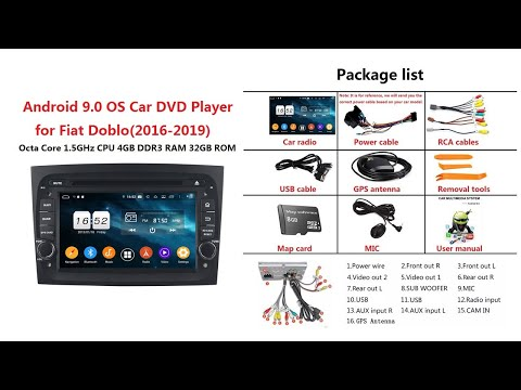 Sunnygoal: Android 9.0 OS Car Stereo for Fiat Doblo(2016-2019), DVD Player GPS Head Unit