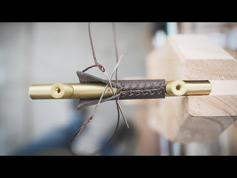 How To Wrap a Handle in Leather - Leather Work ASMR