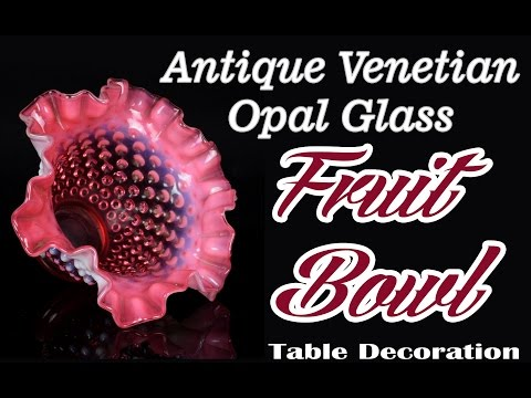 Antique Venetian Opal Glass Bowl Art Collectible Table Decoration. I31-45