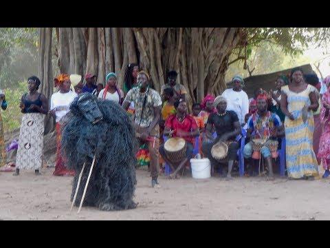 A Lively Diola Masked Dance in Casamance Region of Senegal