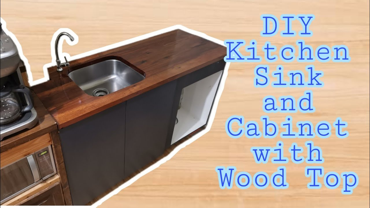 diy kitchen sink and cabinet with wooden top