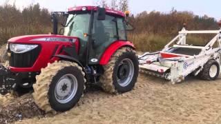TEST ciągnika TYM T1054 z maszyną do czyszczenia plaży ! 2015 !