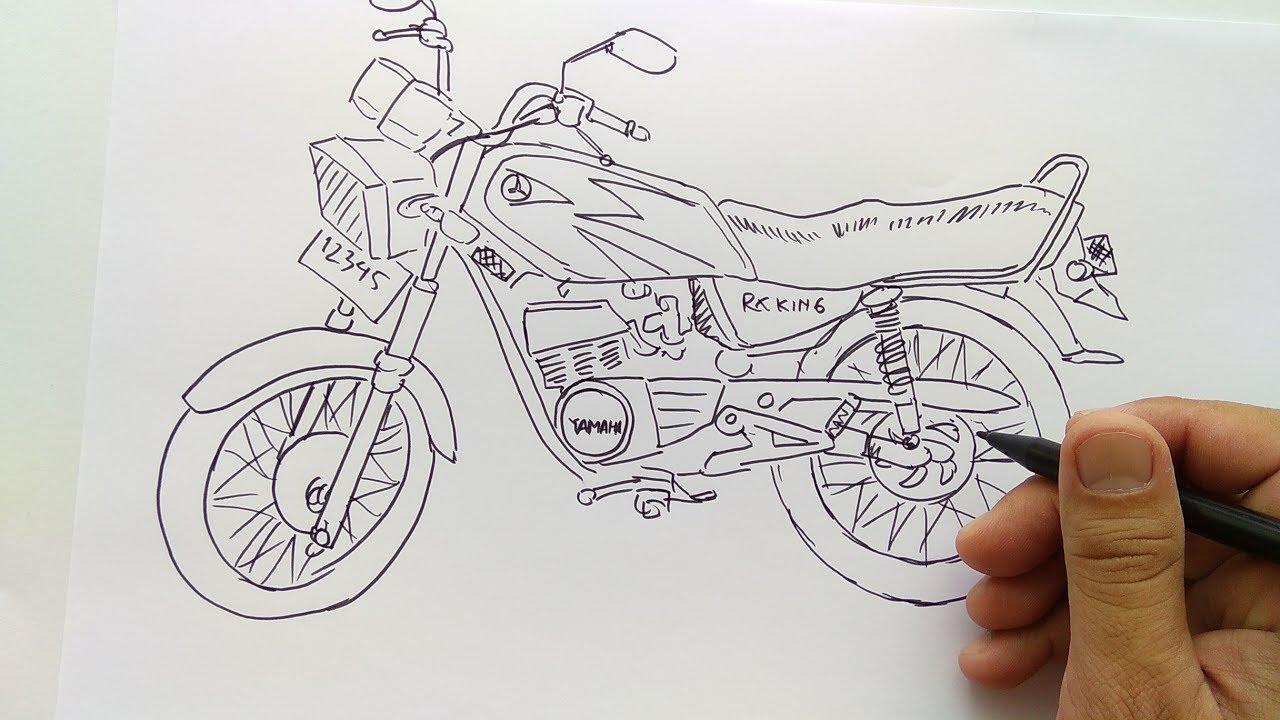Cara Menggambar Motor Drag Di Buku Gambar Terkeren Motor Cross