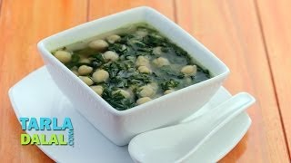 Spinach And Chick Pea Soup (iron Rich) By Tarla Dalal