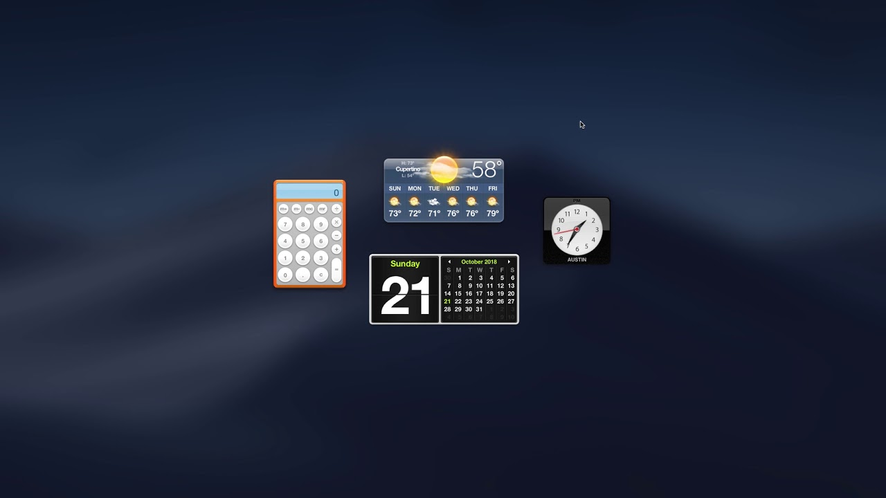 Enable Dashboard in Mojave